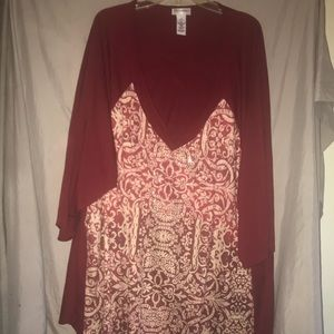 Catherine's wine color jewel embellished long top